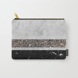 White and Black Marble Silver Glitter Stripe Glam #1 #minimal #decor #art #society6 Carry-All Pouch