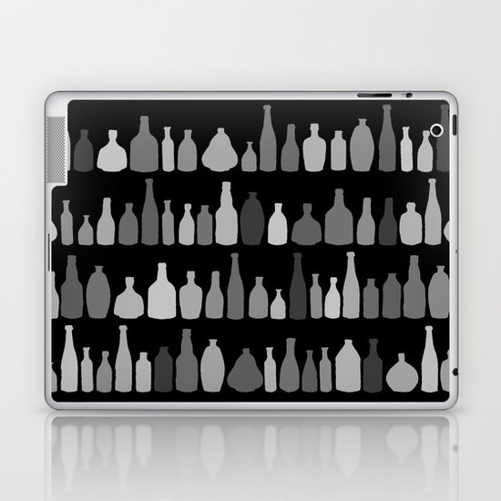 Bottles Black and White on Black Laptop & iPad Skin