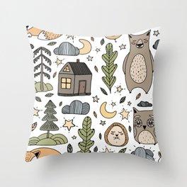 Flat illustration sleepy forest with owl, bear, hedgehog, fox, the moon, stars, trees and house Throw Pillow
