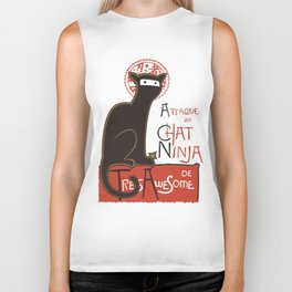 A French Ninja Cat (Le Chat Ninja) Biker Tank