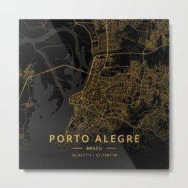 Porto Alegre, Brazil - Gold Metal Print