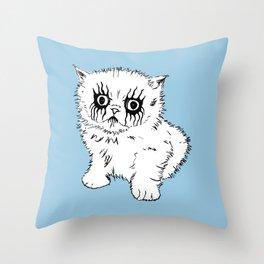 Black Metal Kitty Throw Pillow