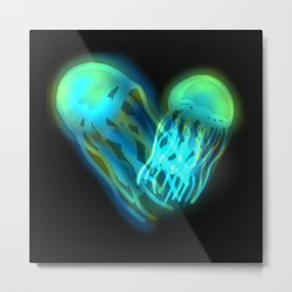 Glowing Jellyfish Metal Print