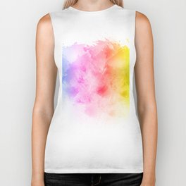 Rainbow abstract artistic watercolor splash background Biker Tank