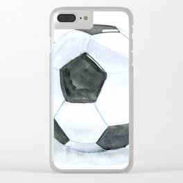 Soccer Ball Watercolor Clear iPhone Case