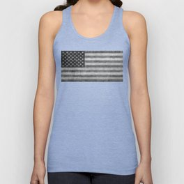 American flag - retro style in grayscale Unisex Tank Top
