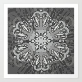 Gray Ombre Tapestry and Bohemian Ombre Mandala Bedding Art Print
