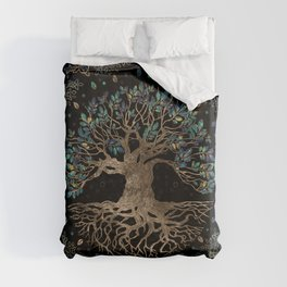 Tree of life -Yggdrasil Golden and Marble ornament Duvet Cover
