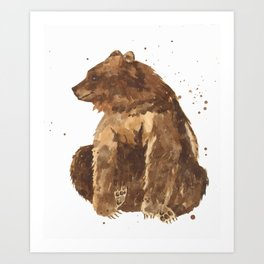 Bear, brown bear, guy art, man cave, woodsman, forestry lover, wild thing, daniel boone person Art Print