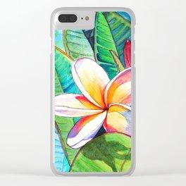 Plumeria Garden Clear iPhone Case
