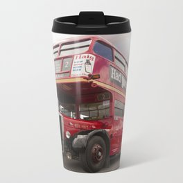 Old Red London Bus Vintage transport Metal Travel Mug