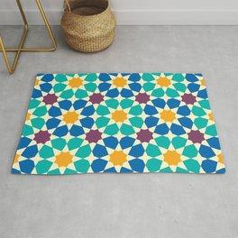 Moroccan pattern, Morocco. Patchwork mosaic with traditional folk geometric ornament Rug