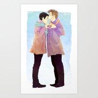 klaine Art Prints featuring klaine winter by suitfer
