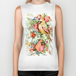 Cardinal Birds and Hawthorn, Cardinal Bird Christmas Design art floral bird decor Biker Tank