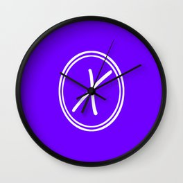 Monogram - Letter X on Indigo Violet Background Wall Clock