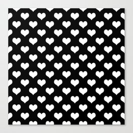 Black White Hearts Canvas Print