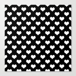 Black White Hearts Minimalist Canvas Print
