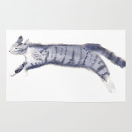 """""""Jump"""" whimsical cat watercolor painting Rug"""