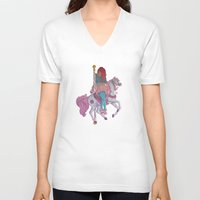 carousel V-neck T-shirts featuring Carousel by Leigh Wortley