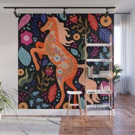 colorful doodle horse Wall Mural