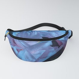 pink and blue flowers on black Fanny Pack