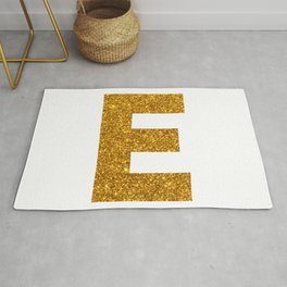 Letter E Glitter Gold Initial Monogram Rug