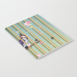 An Elegant Bird in Cage with Flower Graphic Notebook