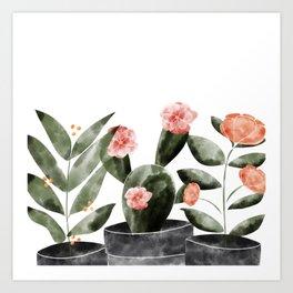 Watercolor Cactus Floral Art Print