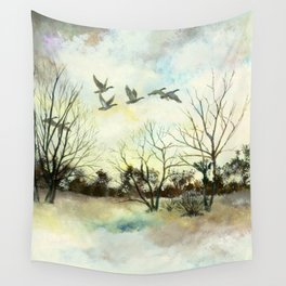 Winter Canada Geese Wall Tapestry