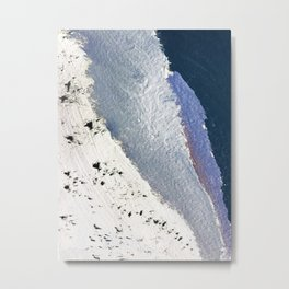 Delicate: a simple, elegant abstract piece in blues, black and white Metal Print
