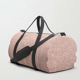 Modern faux rose gold glitter ombre brown rustic wood color block Duffle Bag