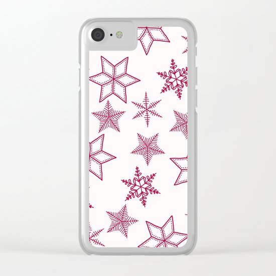 Red Snowflakes On White Background Clear iPhone Case