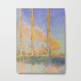 Claude Monet Impressionist Landscape Oil Painting Claude Monet French Poplars Pastel Romantic Colors Metal Print