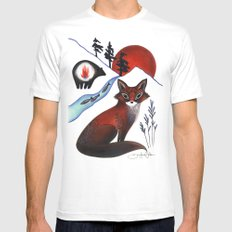 Fox on the Mountain White Mens Fitted Tee MEDIUM