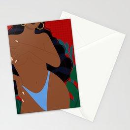 Handful // Woman, Femme, Feminine, Red, Black, Blue, Green, Plants Stationery Cards