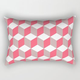 Diamond Repeating Pattern In Poppy and Soft Grey Rectangular Pillow