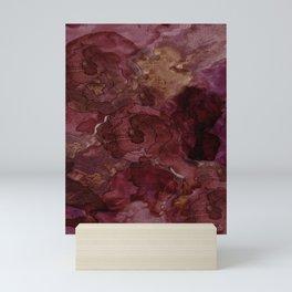 Rose, Burgundy and Merlot Watercolor Flowers Mini Art Print