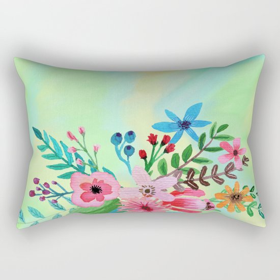 Flowers bouquet watercolor #6 Rectangular Pillow