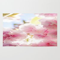 cherry blossom Area & Throw Rugs featuring Cherry Blossom by 2sweet4words Designs