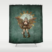 steam punk Shower Curtains featuring Steam Punk Pilot Faery by Hafapea