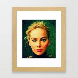 Jennifer Lawrence (Von Gogh) Framed Art Print