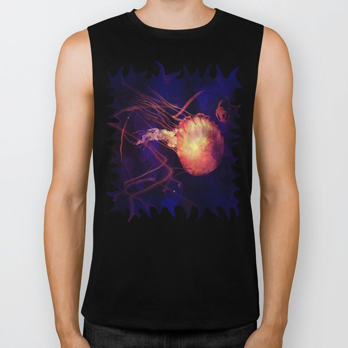 Jellyfish of the Blacklight Electro Rave Biker Tank