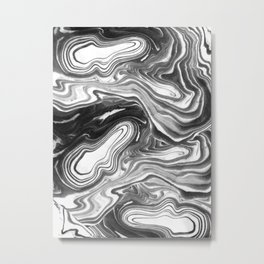 Furoshi - black and white minimal spilled ink abstract painting marble swirl ocean water marbled Metal Print