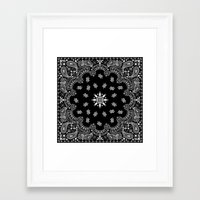 tupac Framed Art Prints featuring black and white bandana by Marta Olga Klara