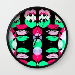Crazy Neon Face Glitch Wall Clock