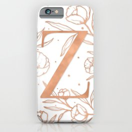 Letter Z Rose Gold Monogram / Initial Botanical Illustration iPhone Case