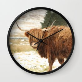 Red Highland Cattle in Winter Wall Clock
