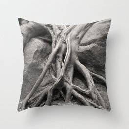 Tree Roots Forest Woods Washington Northwest Boulder Geology Outdoors Landscape Throw Pillow