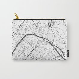 Paris France Minimal Street Map - Gray and White Carry-All Pouch