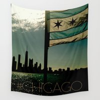chicago Wall Tapestries featuring Chicago by Suchita Isaac